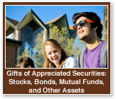 Rollover image of students on campus. Link to Gifts of Appreciated Securities.