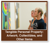 Rollover image of students looking at paintings. Link to Tangible Personal Property.