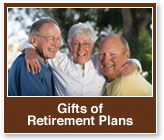 Rollover image of two men and a woman posing for a picture. Link  to Gifts of Retirement Plans.