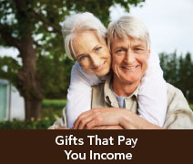 Rollover image of a couple smiling. Link to Gifts That Pay You Income.