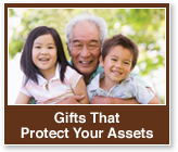 Rollover image of a grandfather and grandchildren. Link to Gifts That Protect Your Assets.