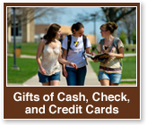 Rollover image of students walking on campus. Link to Gifts of Cash, Check, and Credit Cards.