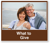 Rollover image of a couple smiling. Link to What to Give.